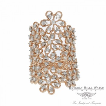 Designs by Naira 18k Rose Gold Daisy Lacy Diamonds Ring D367R 4K9HA7 - Beverly Hills Jewelry Company