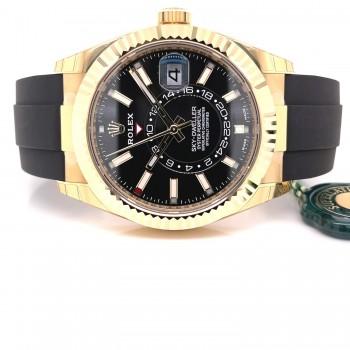 Rolex Sky-Dweller 42mm Yellow Gold Black Dial Oysterflex 326238 - Beverly Hills Watch Company