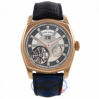 Roger Dubuis La Monegasque Flying Tourbillon Large Date 18k Rose Gold Grey Dial RDDBMG0010 J27F14 - Beverly Hills Watch Company Watch Store