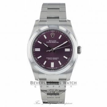 Rolex Oyster Perpetual 36mm Stainless Steel Red Grape Dial Index Markings Bracelet 116000 DCTF9Z - Beverly Hills Watch Company