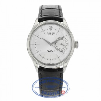 Rolex Cellini Date 39MM 18k White Gold Domed Fluted Double Bezel Silver Guilloche Dial Black Strap 50519 42ZRF5 - Beverly Hills Watch Company
