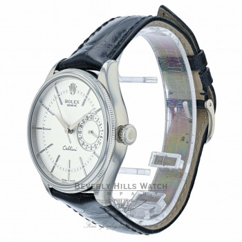 Rolex Cellini Date 39MM 18k White Gold Domed Fluted Double Bezel Silver Guilloche Dial Black Strap 50519 JTN89P - Beverly Hills Watch Company