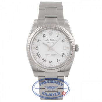 Rolex Air-King 34MM Stainless Steel White Gold Fluted Bezel White Diamond Dial 114234 LVY17M - Beverly Hills Watch Company Watch Store