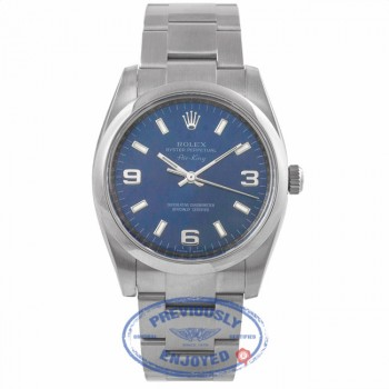 Rolex Air King Stainless Steel Oyster Bracelet Domed Bezel Blue Dial Watch 114200 5PNKPE - Beverly Hills Watch Company Watch Store
