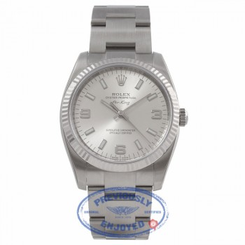Rolex Air-King 34MM Stainless Steel White Gold Fluted Bezel Silver Dial 114234 1844HK - Beverly Hills Watch Store
