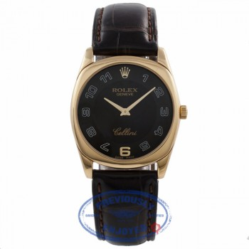 Rolex Cellini Danaos 18k Yellow Gold Gents Black Dial Arabic Numerals Black Leather Strap 4233/8 4K7ZU6 - Beverly Hills Watch Company Watch Store