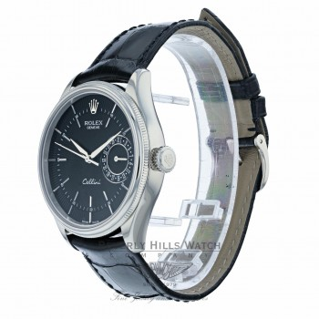 Rolex Cellini Date 39MM 18k White Gold Domed Fluted Double Bezel Black Dial Black Strap 50519 4XUXR8 - Beverly Hills Watch Company