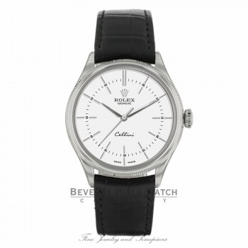 Rolex Cellini 39mm 18k White Gold Domed & Fluted Bezel White Dial 50509 4FVL1U - Beverly Hills Watch