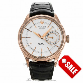 Rolex Cellini Date 39MM Everrose Domed Fluted Double Bezel Silver Guilloche Dial Black Strap 50515 CZ83Q9 - Beverly Hills Watch Company