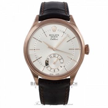 Rolex Cellini Dual Time 39MM 18k Rose Gold Domed and Fluted Bezel Silver Dial 50525 N194RL - Beverly Hills Watch Company Watch Store