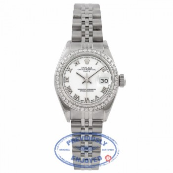 Rolex Datejust 26MM Stainless Steel 18k White Gold Diamond Bezel White Dial 79160 TEAEUY - Beverly Hills Watch Company Watch Store