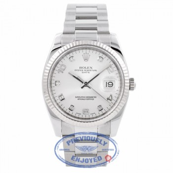 Rolex Date 34MM Stainless Steel 18k White Gold Fluted Bezel Silver Diamond Dial 115234 Z1V4IG - Beverly Hills Watch Company Watch Store
