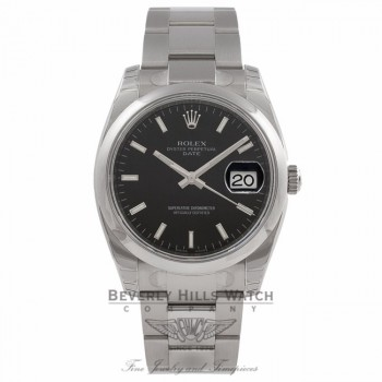 Rolex Date 34mm Stainless Steel Oyster Bracelet Domed Bezel Black Stick Dial Watch115200 Beverly Hills Watch Company Watches