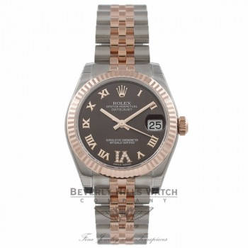 Rolex Datejust 31MM Stainless Steel 18k Rose Gold Fluted Bezel IV Diamond Marker 178271 KL6MX1 - Beverly Hills Watch Company Watch Store