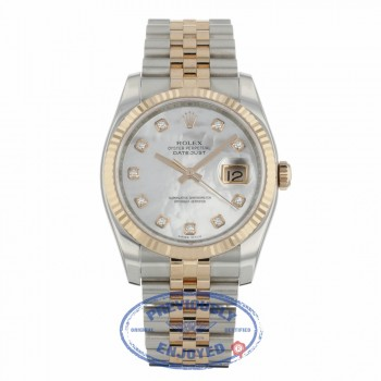 Rolex Datejust 36mm Stainless Steel and Rose Gold Mother of Pearl Diamond Dial 116231 DZH0JT - Beverly Hills Watch Company