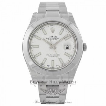 Rolex DateJust II Stainless Steel 41MM White Stick 116300 MLAPVC - Beverly Hills Wath Company