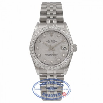 Rolex Date Just Stainless Steel 18K White Gold Diamond Bezel Meteorite Diamond Dial 78274 1YYK76 - Beverly Hills Watch Store