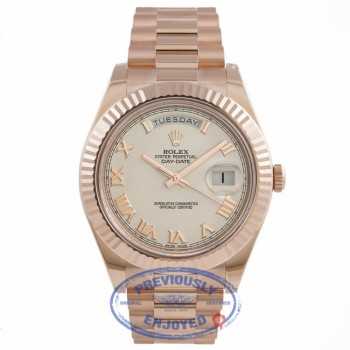 Rolex Day-Date II President 41mm Rose Gold Fluted Bezel Ivory Dial 218235 8QRVNN - Beverly Hills Watch Company Watch Store