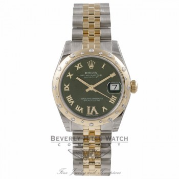 Rolex Oyster Date-Just Yellow Gold Stainless Steel Diamond Bezel Green Dial 178343 ZDXQCP - Beverly Hills Watch Store