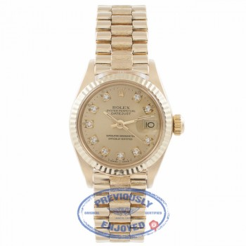 Rolex Datejust 26MM 18k Yellow Gold Fluted Bezel Champagne Diamond Dial President 6916 MPFYWN - Beverly Hills Watch Company Watch Store