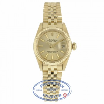 Rolex Datejust 26mm 18k Yellow Gold Champagne Dial Index Hour Markers 6917 5KDCFW - Beverly Hills Watch