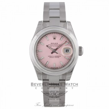 Rolex 26mm Datejust Domed Bezel Pink Stick Dial Stainless Steel 179160 0DTJDZ - Beverly Hills Watch Company