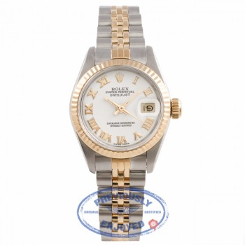 Rolex 26mm Datejust 18k Yellow Gold Stainless Steel Rodium Roman Numeral Index Markers Dial 69173 298RRZ- Beverlyhills Watch Company Watch Store