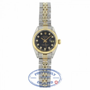 Rolex Datejust 26mm Yellow Gold Stainless Steel Black Diamond Dial 69173 130HLP - Beverly Hills Watch Company