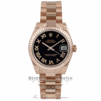 Rolex Datejust 18k Rose Gold President Bracelet Fluted Bezel Black Dial 178275 YVNHMC - Beverly Hills Watch Company Watch Store