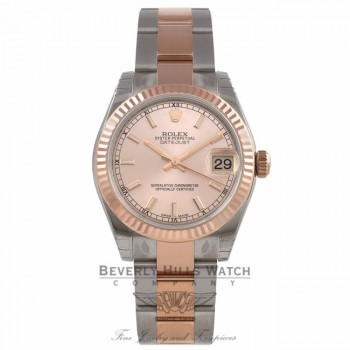 Rolex Datejust 31MM Stainless Steel 18k Rose Gold Fluted Bezel Rose Gold Champagne Index Dial 178271 9VNCAU - Beverly Hills Watch Company Watch Store
