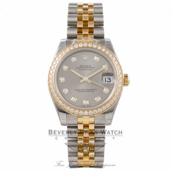 Rolex Datejust 31MM 18k Yellow Gold Stainless Steel Diamond Bezel Silver Diamond Dial 178383 - Beverly Hills Watch Company Watch Store