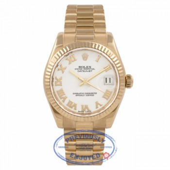 Rolex Datejust 31mm 18K Yellow Gold President Bracelet Fluted Bezel White Roman Numeral Dial Watch 178278 69HKD7 - Beverly Hills Watch Company Watch Store