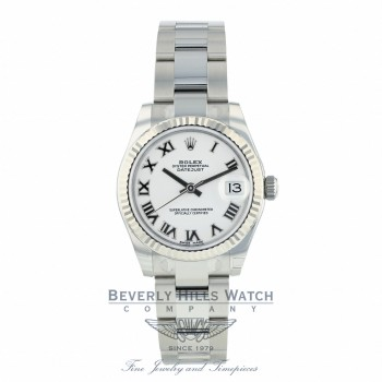 Rolex Datejust 31mm Stainless Steel White Gold Fluted Bezel White Dial Silver Roman 178274 KPNAF6 - Beverly Hills Watch Company