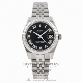 Rolex Datejust 31MM Stainless Steel Jubilee Bracelet 18K White Gold Fluted Bezel Black Roman Numeral Dial Ladies Watch 178274 Beverly Hills Watch Store