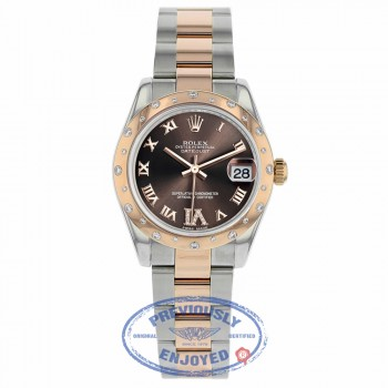 Rolex Datejust 31mm Rose Gold and Stainless 24 Diamond Bezel Chocolate Dial 178341 9A7Q3D - Beverly Hills Watch Company