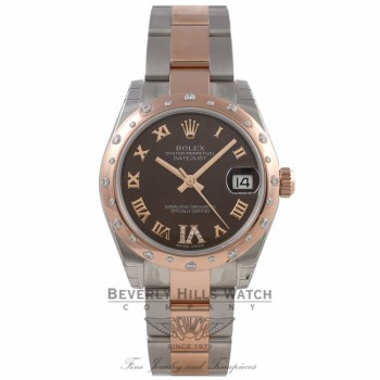 Rolex Datejust 31mm Rose Gold and Stainless 24 Diamond Bezel Chocolate Dial 178341 - Beverly Hills Watch Company Watch Store
