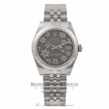 Rolex DateJust 31MM Stainless Steel & 18K White Gold Dark Rhodium Floral Dial 178274 ZCPRWQ - Beverly Hills Watch Store