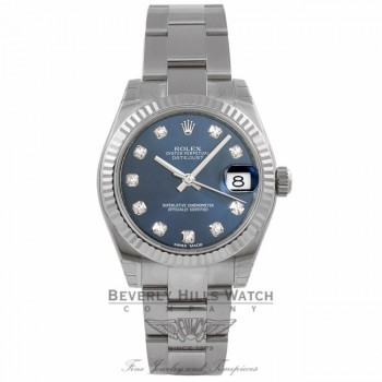 Rolex Datejust 31MM Stainless Steel 18k White Gold Fluted Bezel Blue Diamond Dial 178274 NWJY11 - Beverly Hills Watch Company Watch store