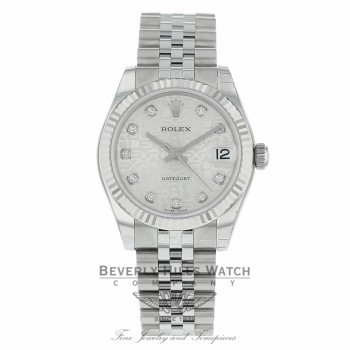 Rolex Datejust 31mm Stainless Steel White Gold Diamond Dial Fluted Bezel 178274 R6U781 - Beverly Hills Watch