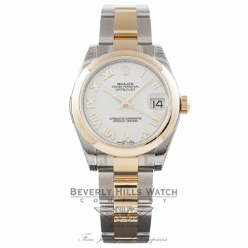 Rolex Datejust 31MM 18k Yellow Gold Stainless Steel White Dial 178243 ZT9A4M - Beverly Hills Watch Store