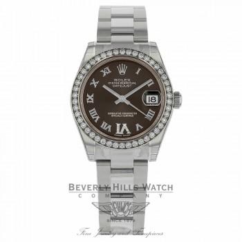 Rolex Datejust 31mm Stainless Steel Diamond Bezel Brown Diamond VI Dial 178384 VZC49Y - Beverly Hills Watch Company