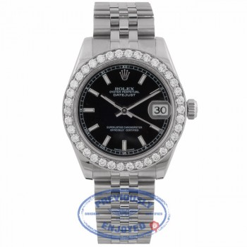 Rolex Datejust Black Dial 31mm Automatic Custom 18K White Gold Diamond Bezel 178274 ZY7N30 - Beverly Hills Watch Company