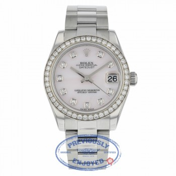 Rolex DateJust 31mm Oyster Perpetual 18k White Gold Diamond Bezel Pink Mother of Pearl 178384 APMJ0U - Beverly Hills Watch Company