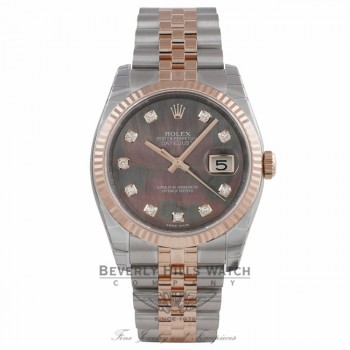 Rolex DateJust 36mm 18k Rose Gold and Stainless Black Mother of Peal Diamond Dial 116231 3U43UV - Beverly Hills Watch Company Watch Store