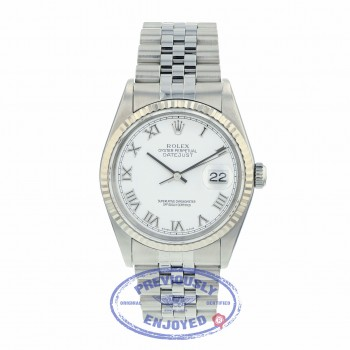 Rolex Datejust 36MM Stainless Steel 18k White Gold Fluted Bezel White Dial Jubilee Bracelet 16234 98MKE5