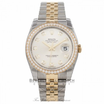 Rolex Datejust 36MM 18k Yellow Gold Stainless Steel Diamond Bezel Silver Diamond Dial 116243 - Beverly Hills Watch Company Watch Store