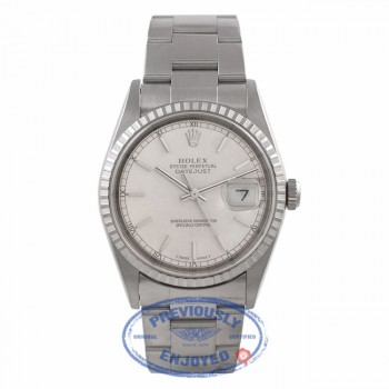 Rolex Datejust 36MM Stainless Steel  Engine Turned Bezel Silver Dial 16220 M5QZQC - Beverly Hills Watch Company Watch Store