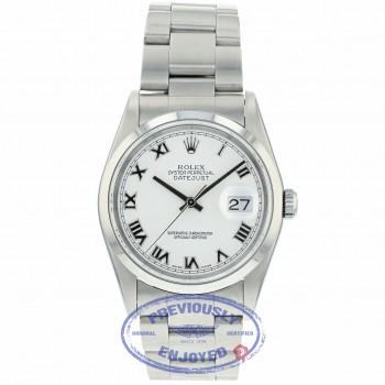 Rolex Datejust 36mm Silver Roman White Dial Oyster Bracelet 116200 VU672Y