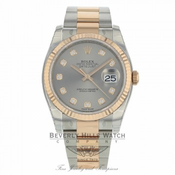 Rolex Datejust 36mm Stainless Steel and Rose Gold Oyster Bracelet Rhodium Diamond Dial 116231 TAMC1W - Beverly Hills Watch
