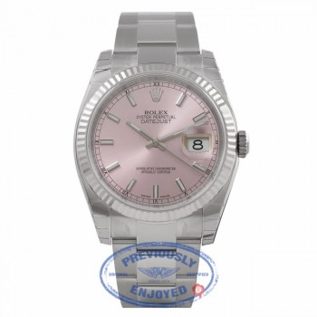Rolex Datejust 36mm Stainless Steel White Gold Fluted Bezel Pink Dial 116234 E74QV3 - Beverly Hills Watch Company Watch Store
